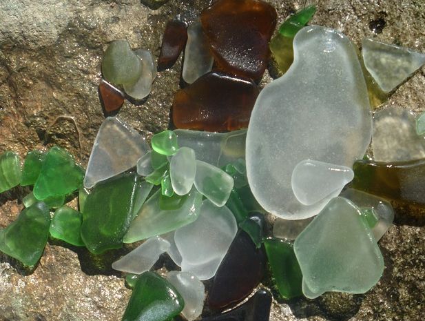 sea glass brown green clear
