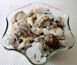 shells in a glass bowl