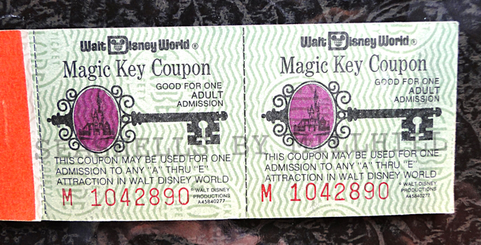 magic key coupon booklet Disney vintage tickets
