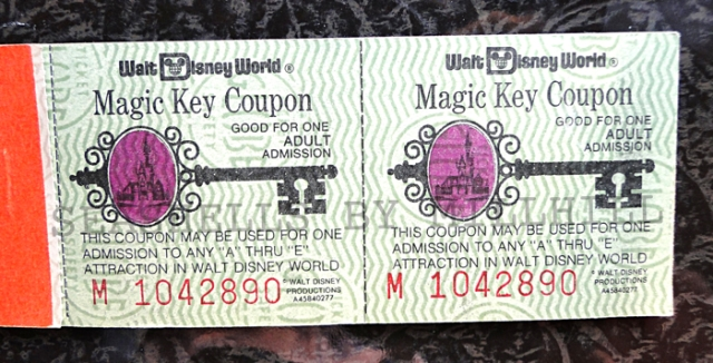 magic key coupon booklet Disney vintage tickets