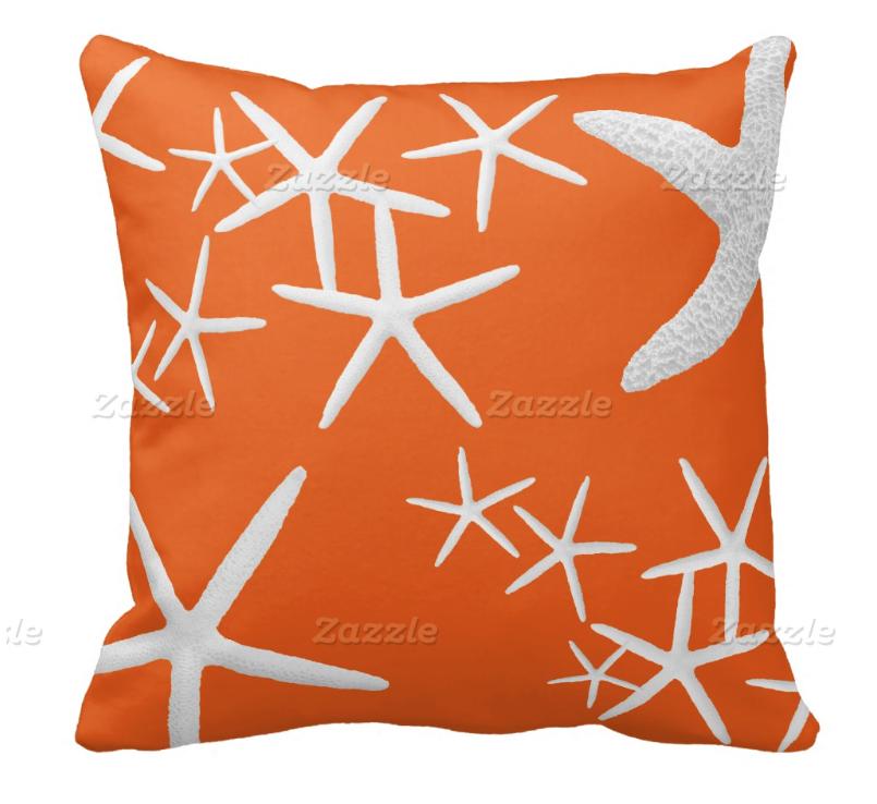 persimmon orange starfish pillow