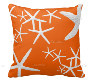 persimmon orange starfish pillow