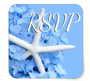 blue hydrangea envelope seals with RSVP