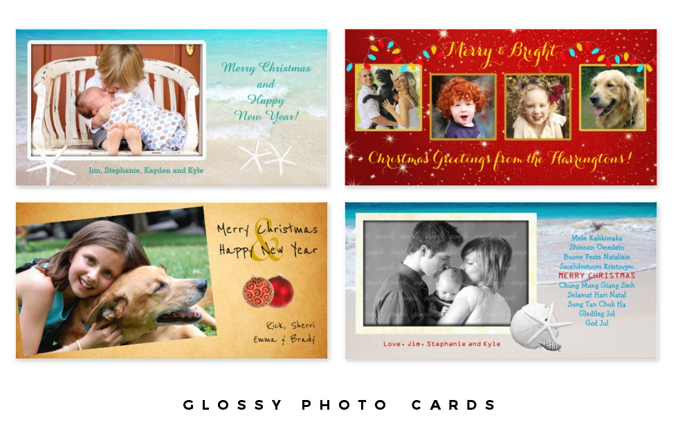 glossy photo christmas cards