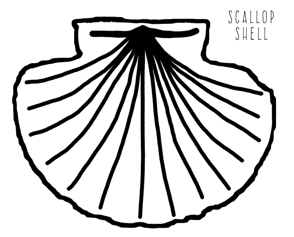 printable seashell coloring page