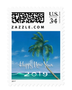 Palm tree holiday postage