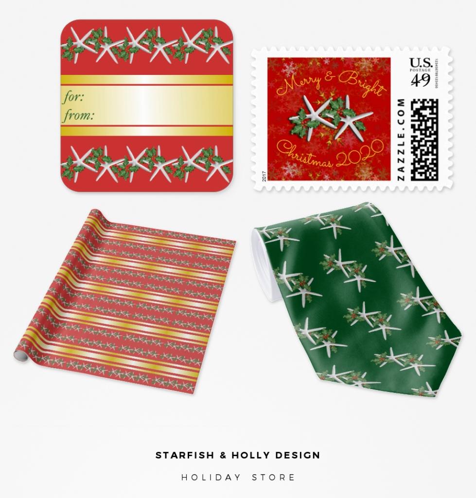 red and green starfish christmas