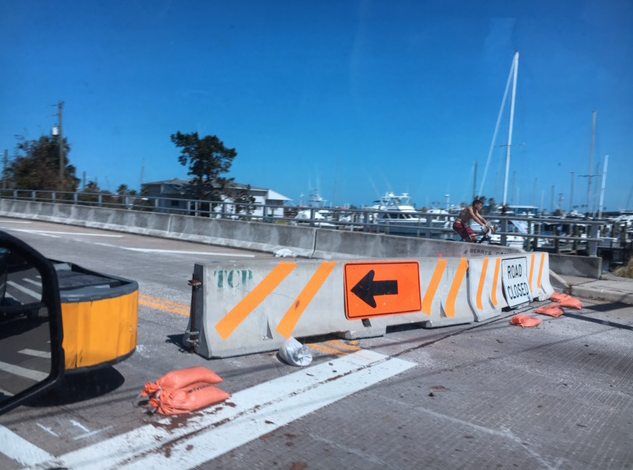 road closed at bridge by Marina