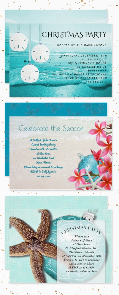 beach christmas party invitations