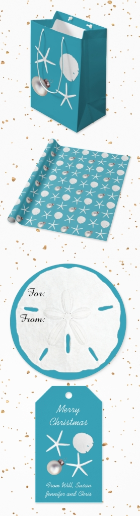 starfish blue Christmas paper
