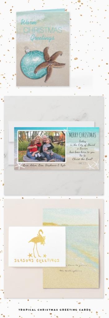 tropical themed Christmas cards