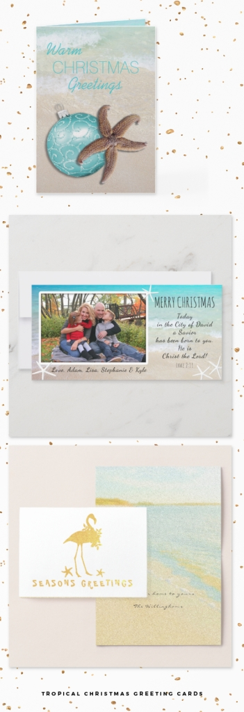 tropical themed Christmas cards