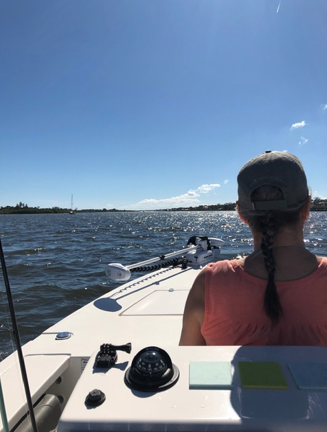 Riding south on the Indian River in our Hewes Redfisher boat.
