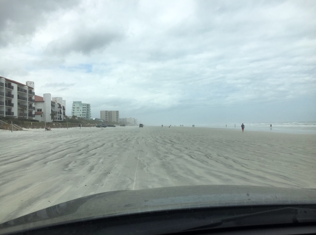 New Smyrna beach coast where driving is permitted.