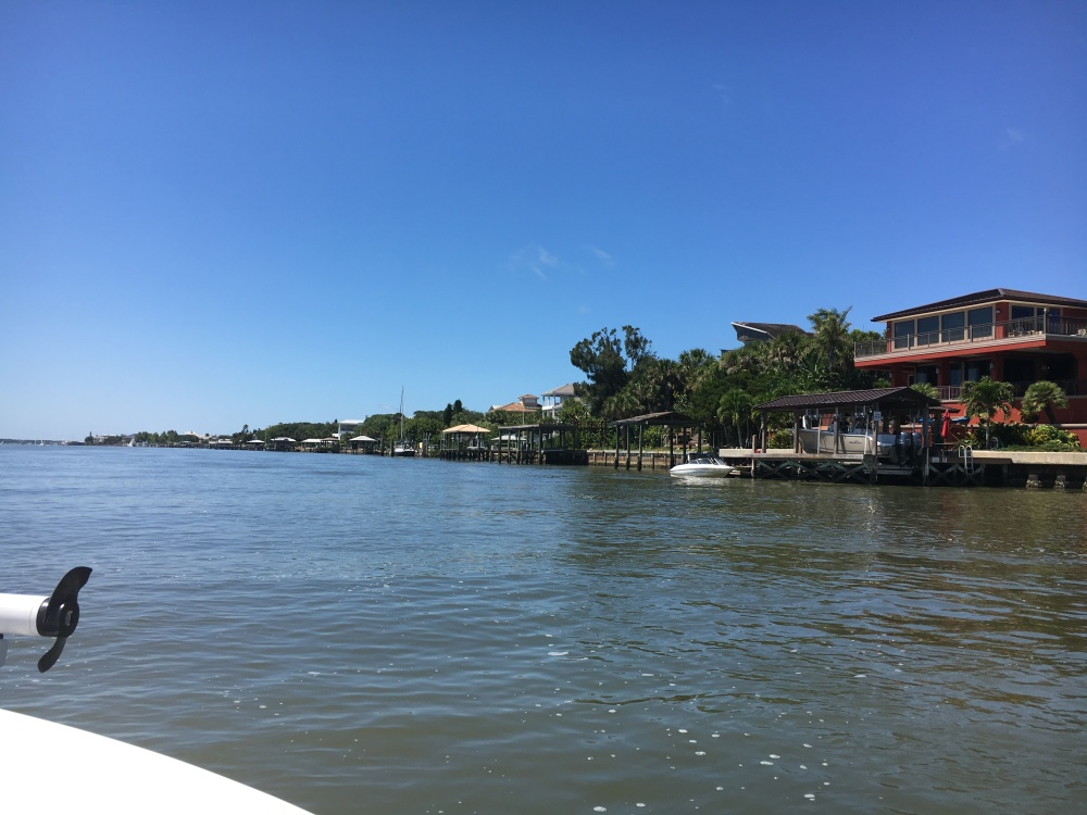 Boating north on the Indian River ICW toward Disappearing Island and the Ponce Inlet.