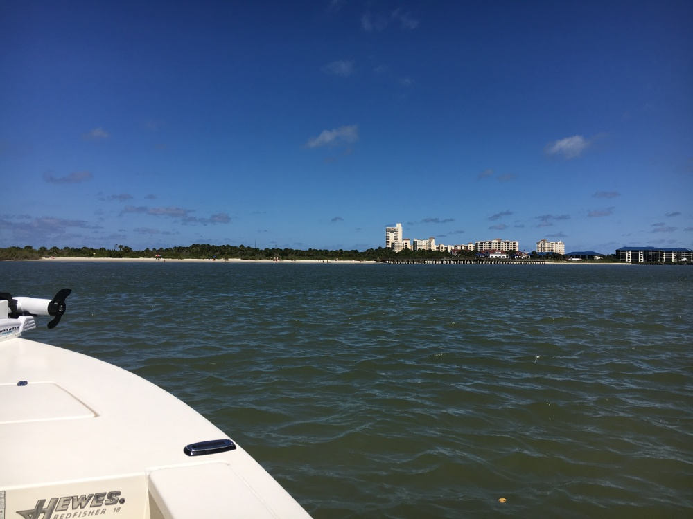Condos in the distance as we boat across a shallow area near Ponce Inlet