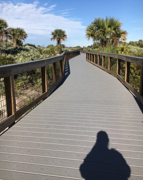The boardwalk beckons at Smyrna Dunes Park in January