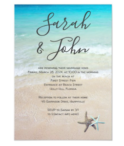 beach vows ceremony invitations