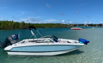 boats anchored on sand bar Florida