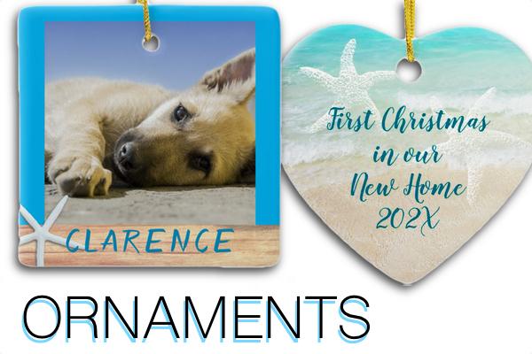 Custom Christmas ornaments with text and photos