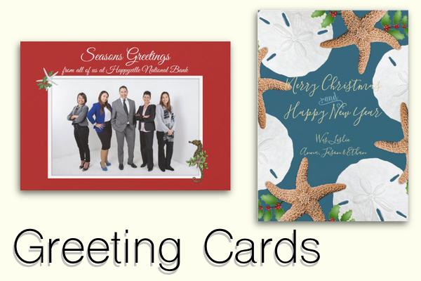 Custom beach Christmas greeting cards