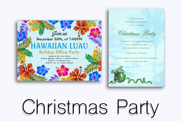 Christmas party invitation templates tropical themed