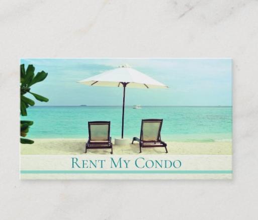 beach chairs tropical ocean business cards