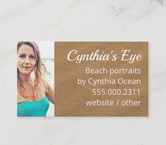 Beach sand and photo template business cards