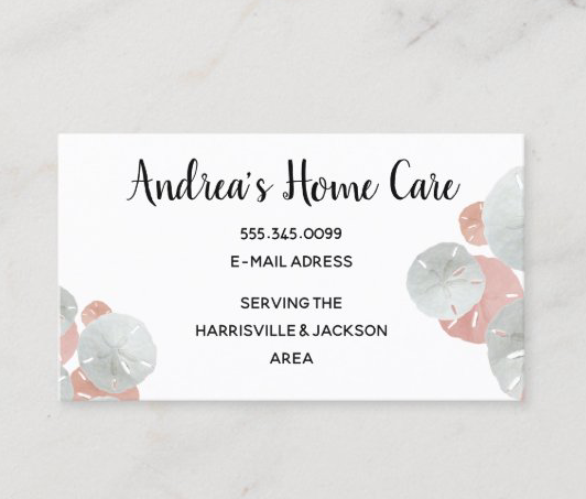 Pink sand dollars home care professional business cards