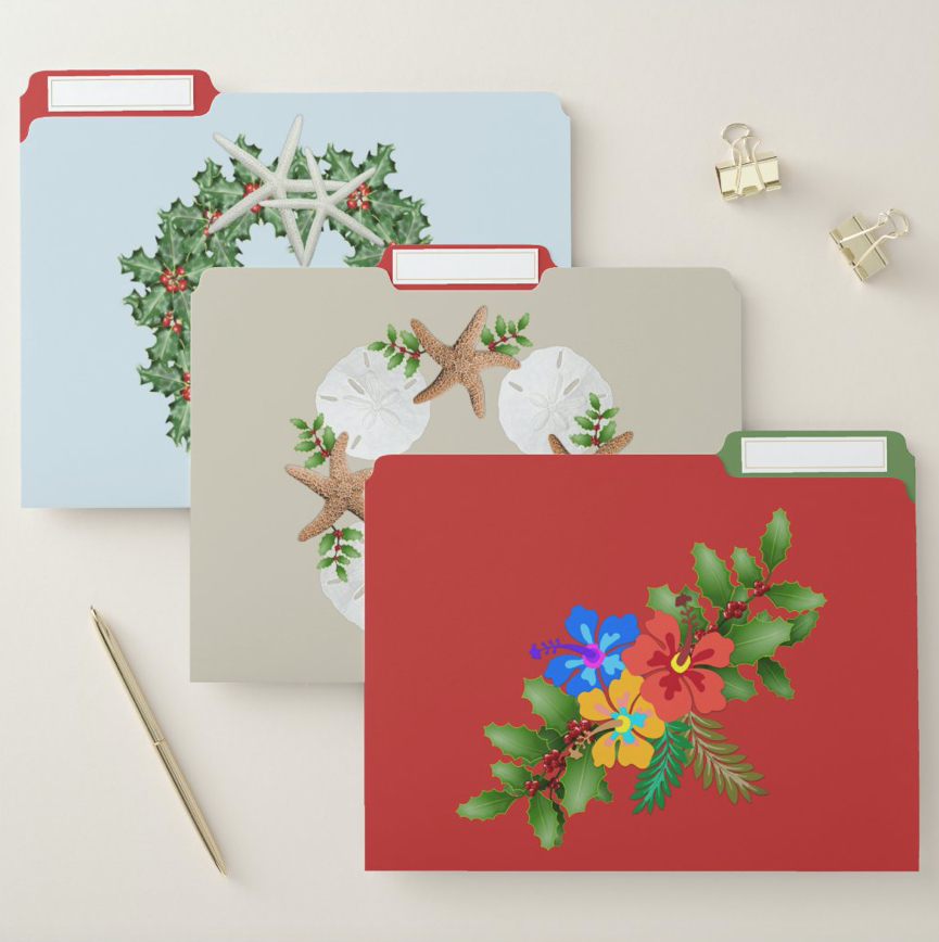 Tropical Christmas file folders with beach wreath, sand dollars, and hibiscus swag designs