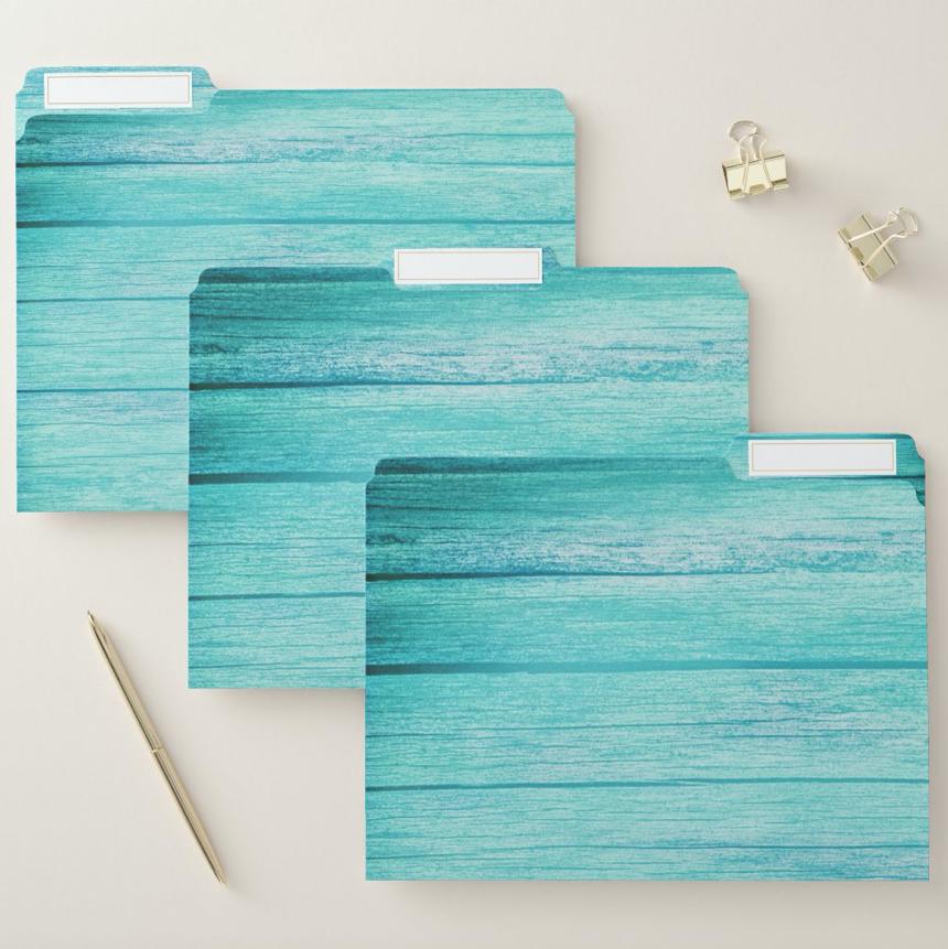 Blue wood decorated file folders