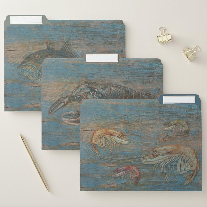 Rustic wood crustaceans file folder set