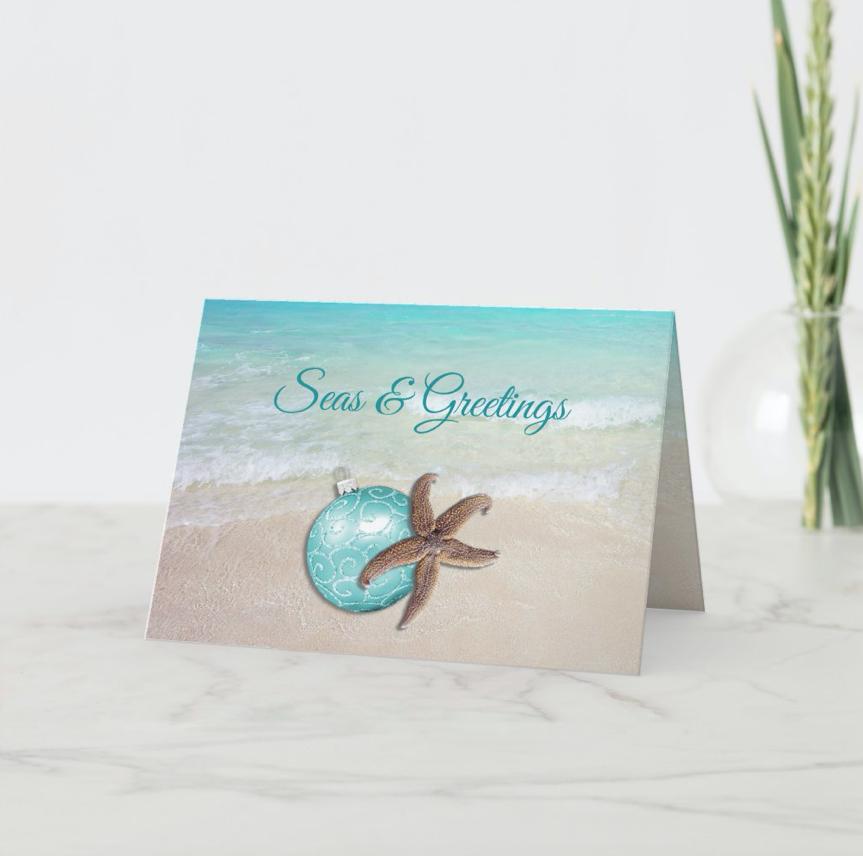 Seas and greetings tropical christmas cards beach scene starfish ornament folded custom message