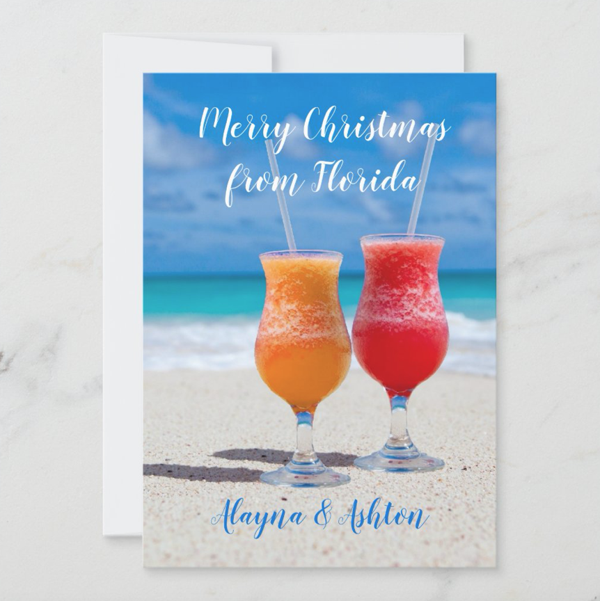Florida Christmas greeting cards two drinks in the beach sand tropical ocean simple signature couples