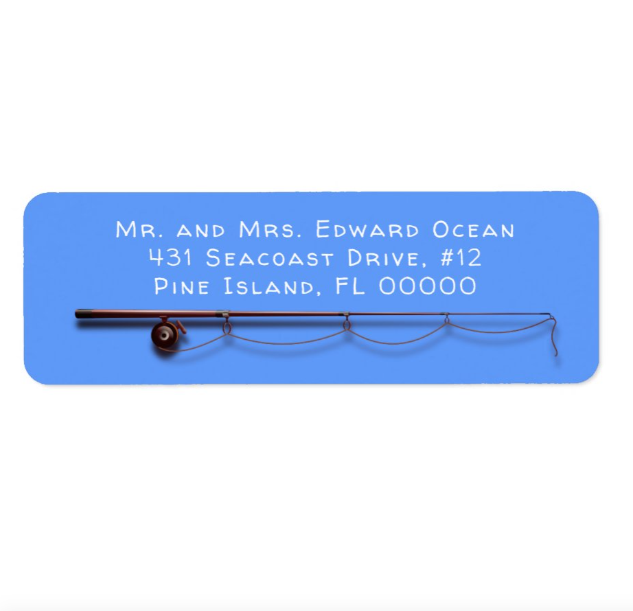 Fishing rod and reel bright blue return address labels