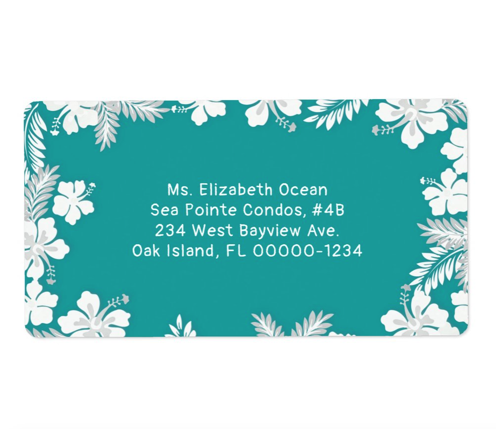 Hibiscus border teal blue shipping labels