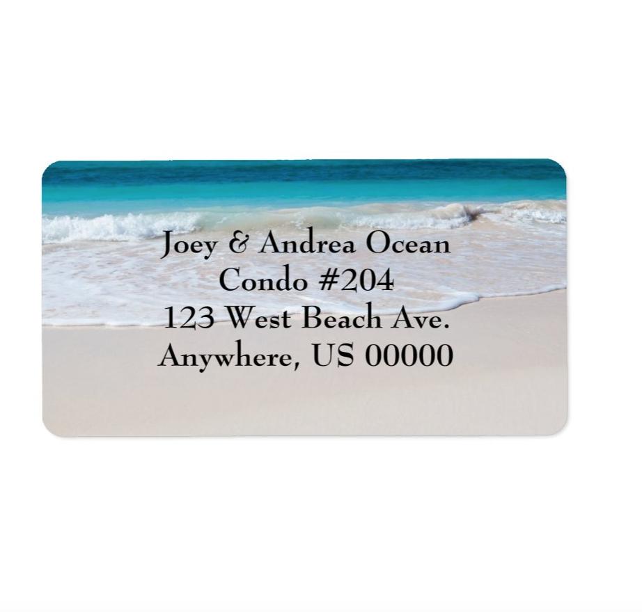 Beach scene return address labels