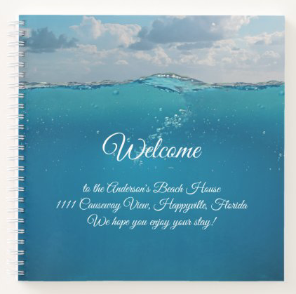 Spiral bound welcome binder for guests or renters