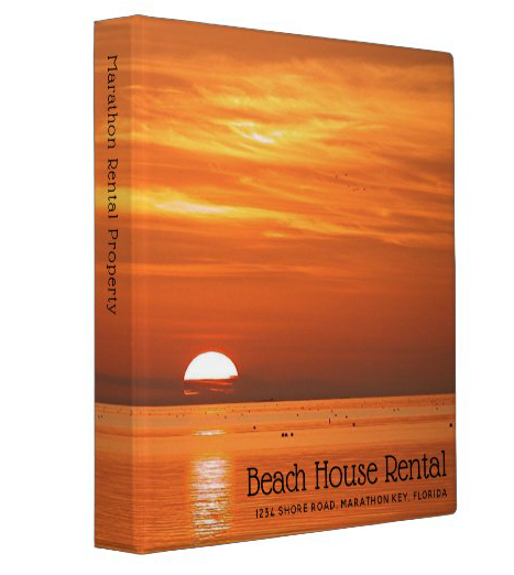 Orange sunset beach house rental binder