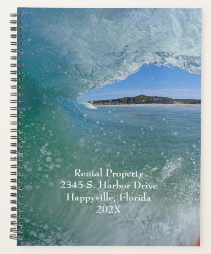 Curling wave spiral bound notebook rental property information