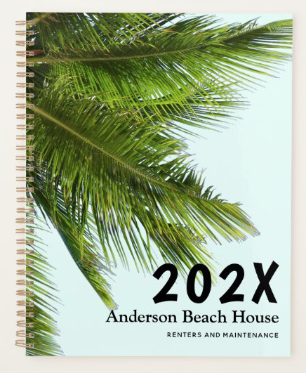 Palm fronds spiral bound notebook with custom text and date