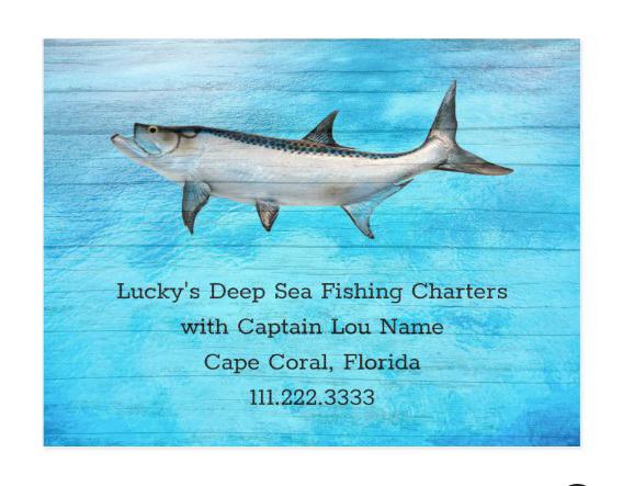 Tarpon deep sea charters postcard advertising with custom text