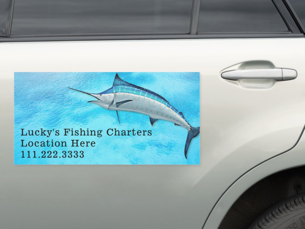 Blue marlin saltwater fishing business magnet for advertising on side of a vehicle