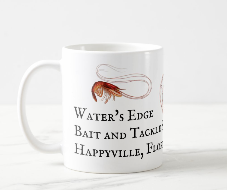 Shrimp mug with place for business name and location