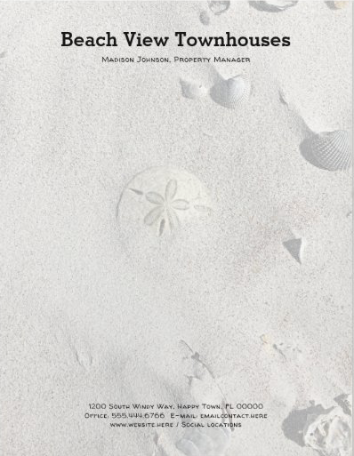 Sand dollar beach sand letterhead stationery