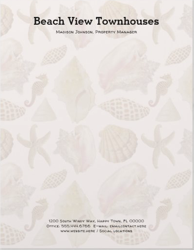 Seashell background letterhead for a coastal business
