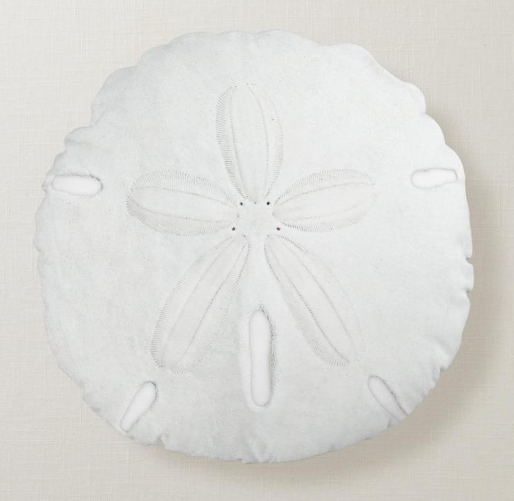 Round white sand dollar pillow