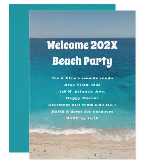 Beach party New Year's Eve invitation with ocean and sand design