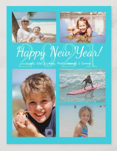 Happy New Year photo collage greeting card for families bright aqua blue year date
