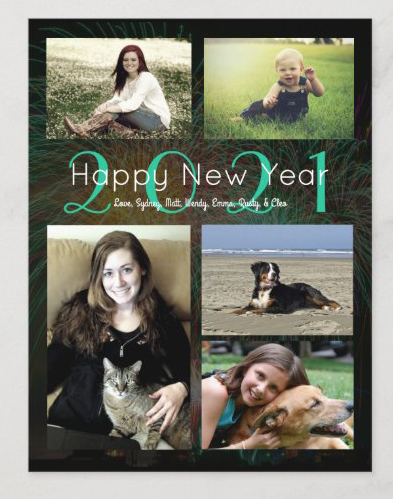 Happy new year photo card with five pictures and custom text black year dated family greeting
